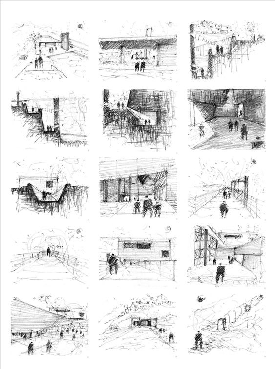 History museum sketching and vignettes on pinterest for Schematic design interior layout vignette