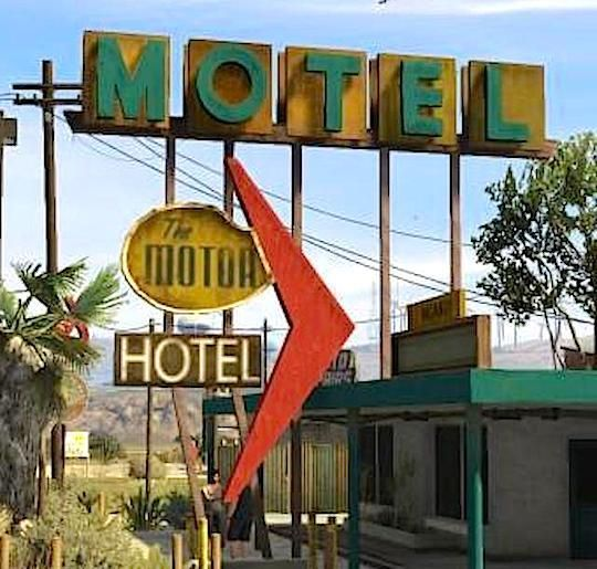 Grand Theft Data Los Santos Landmarks Map The Motor Hotel Sign Route 68 Grand Senora Desert Landmarks Santos Hotel