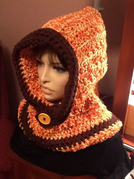 Orange and cream pullover hooded cowl