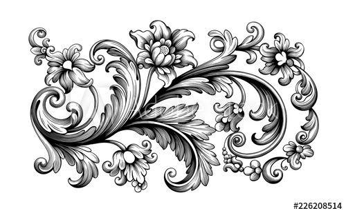 Flower Vintage Baroque Scroll Victorian Frame Border Floral Ornament Leaf Engraved Retro Pattern Rose Peon Vintage Flower Tattoo Baroque Tattoo Filigree Tattoo