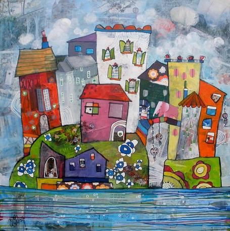 Painting, collage, Illustations, Chrystele Saint-Amaux offers us a world of childhood, poetic and colorfull ...    http://bit.ly/Chrystele-Saint-Amaux-aka-Zebulon-LAdW