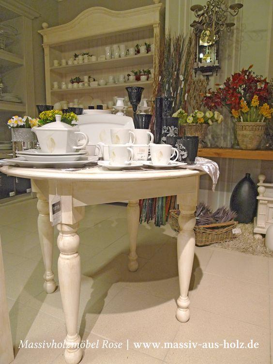 Runder Tisch in Antik weiß (leicht vanillefarben shabby chic - runder küchentisch weiß