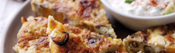 Spanish-style sweet potato, mushroom and feta tortilla