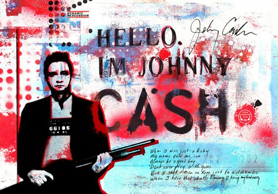 2015, Mixed media digital collage made from elements of my scrapbooks. I have portrayed Cash in a way you haven't seen him before: with a big shotgun. Illustrating the phrase from his classic song Folsom Prison Blues, it contains parts of these lyrics in his own handwriting. The title comes from the opening line he used at his legendary shows in Folsom Prison and San Quintin Prison.:
