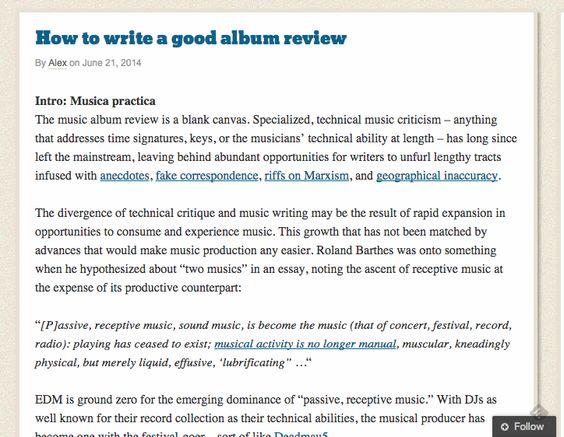 How to write a good album review ScreenGrab This blog contains - how to write a