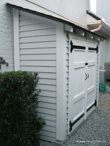 Small side yard storage unit by historic shed small for Sheds and storage units