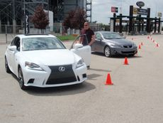 2014 Lexus IS is on the right, 2013 version is on the right.