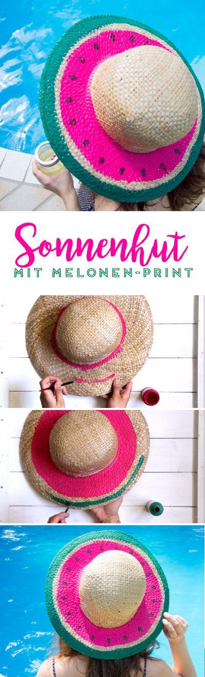 Upcycling: Sonnenhut mit Melonen-Print. Das perfekte DIY für den nächsten Urlaub und den Sommer