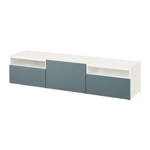 IKEA - BESTÅ, TV-Bank, weiß/Valviken grautürkis, Schubladenschiene, sanft…