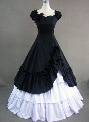 Elegant Black and White Gothic Victorian Dress Lolita Ball Gown Princess Cosplay