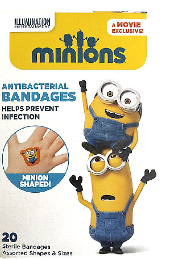 """A Super-Cute Way To Make The """"Ouchies"""" Go Away!  Whether they're running, jumping or tumbling, kids are bound to get scrapes and scratches. Now you can make it """"all better"""" with Minion Despicable Me Antibacterial Bandages!:"""