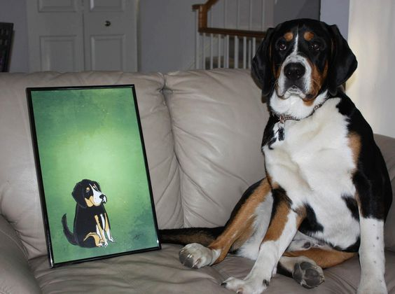 Winston lounging on the couch enjoying his Doodled Dogs portrait!