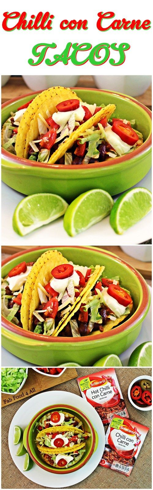 Chilli con Carne Tacos made with Schwartz Recipe Mix for a great quick meal! Fab…