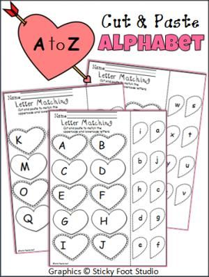 valentine 39 s day letter matching cut and paste printables includes the entire alphabet great. Black Bedroom Furniture Sets. Home Design Ideas