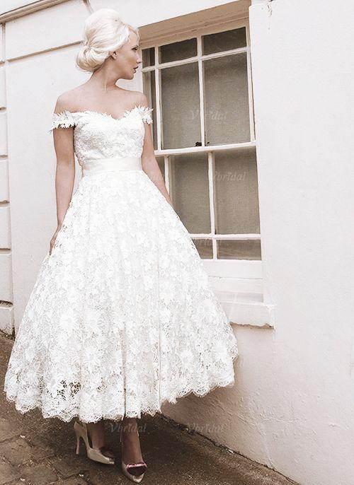 Robes de mariée - $171.31 - Forme Princesse Epaules nues Longueur cheville Dentelle Robe de mariée avec Ceintures À ruban(s) (0025058926)