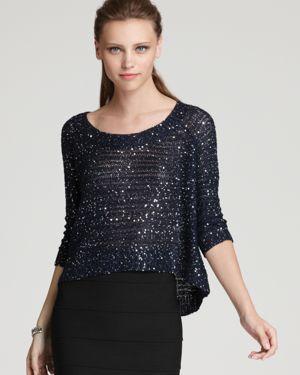 Aqua Sweater - Sequin High Low