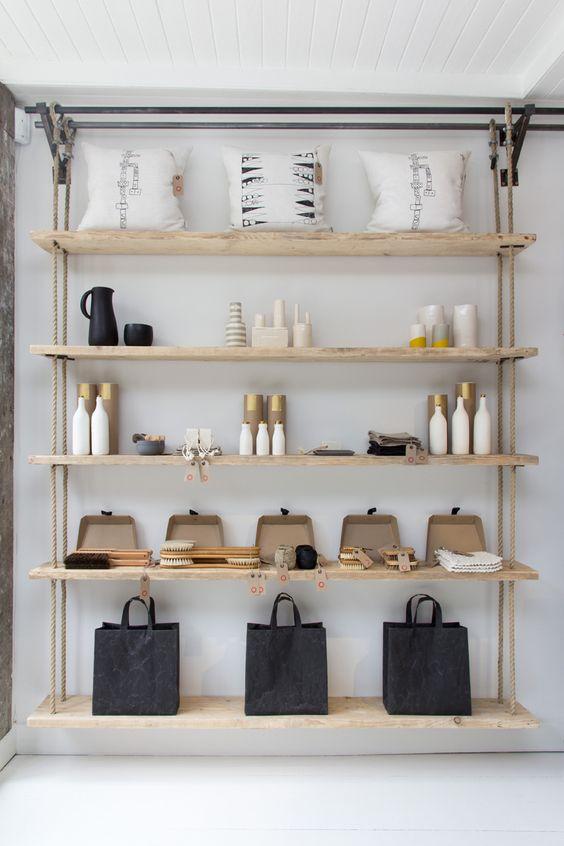 VM   Retail VM   Visual Merchandising   Home Adornment   Retail Design   simple clean modern retail shelf display