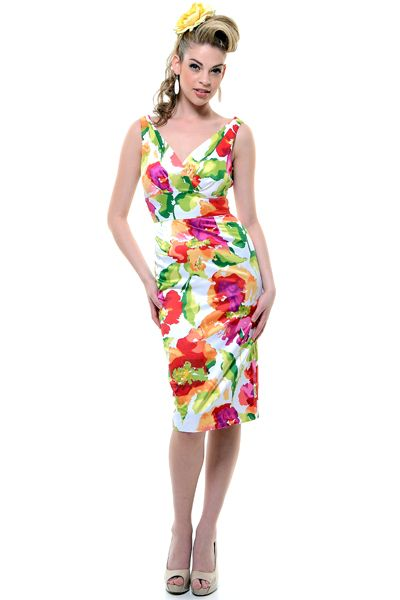 1940's Style Stop Staring Colorful Camilia Summer Floral Wiggle Dress - S-3X  [Item#24950-CAMIL-03]