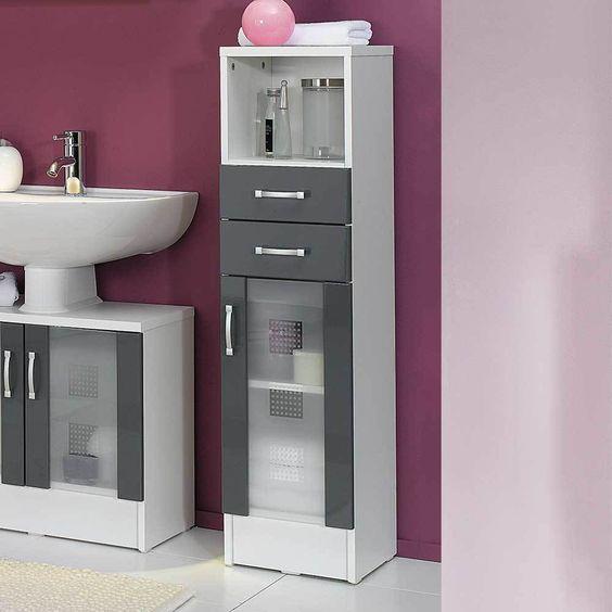 Bad Midischrank in Grau Hochglanz Weiß 30 cm breit Jetzt bestellen - badezimmer weiß grau