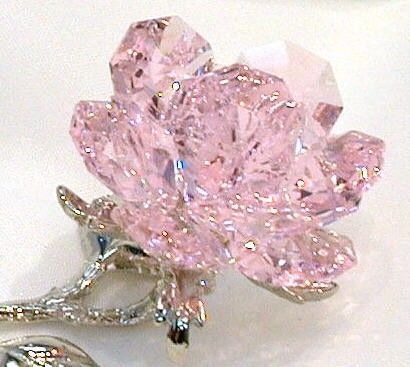 Pink Crystal Rose made with Swarovski Crystal by BJCRYSTALGIFTS