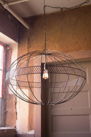 Kalalou Large Wire Ellipsoid Pendant Light - Elegant and industrial, this round pendant lamp is BIG. With raw metal and cross-hatched details, it makes a perfect selection for those looking to bring soothing and tasteful lighting to any room with tall ceilings. 40w Edison bulb sold separately.