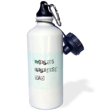 3dRose Green Worlds Greatest Dad Fathers Day Love, Sports Water Bottle, 21oz, White
