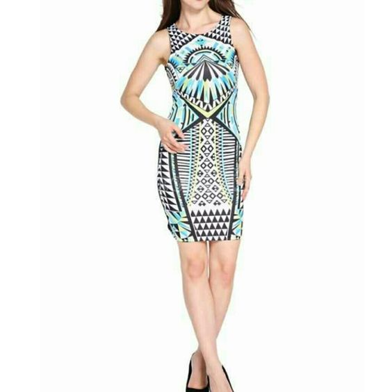 Ethnic Print Bodycon NWOT Material: Polyester/Spandex (Very stretchy)  back of dress is black Measurements(Unstretched):  Chest(from armpit to armpit): 32 Inches around Waist: 27 inches around Hip: 34 Inches around Length (from top of shoulder to bottom): 33 Inches long Dresses