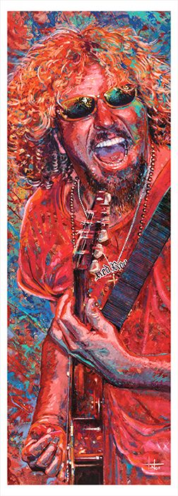 """Special thanks to photographer Kim Sallaway  for the use of his Sammy photo for inspiration and reference.  Sammy Hagar (View Painting Process) This reproduction has a tall image area of 13"""" x 37.5"""" (33 cm x 95.3 cm)  Prints are a limited edition of 250 high quality paper giclee print.  Order early for your low numbered collectable print.  Price is $389 plus shipping."""