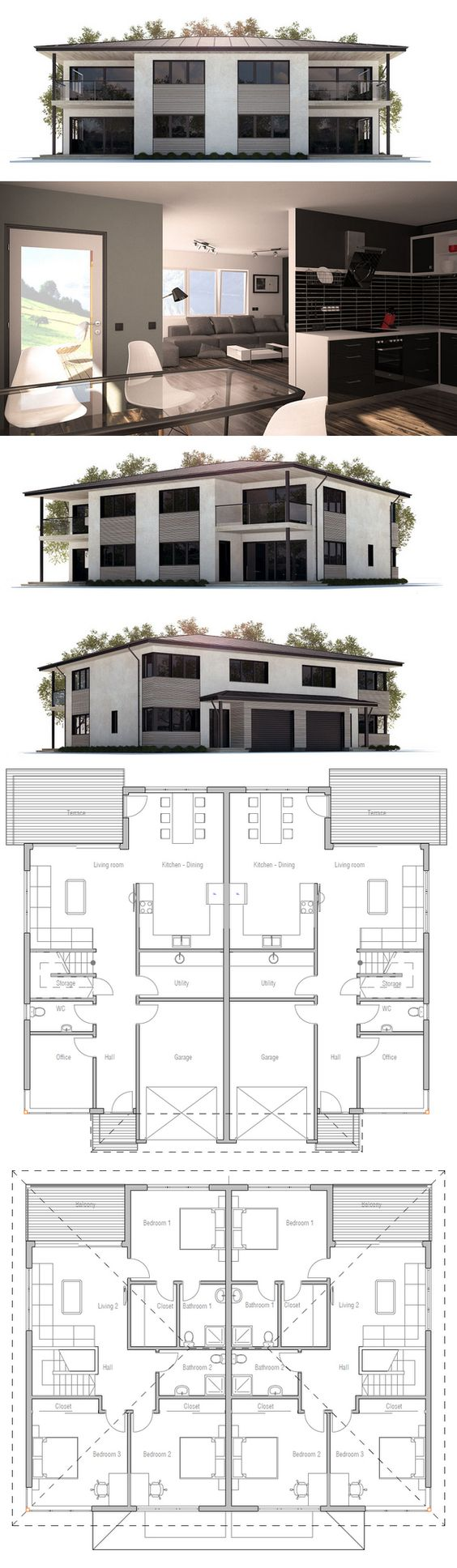 Plan de maison duplex plans de maisons pinterest for Maison duplex plan
