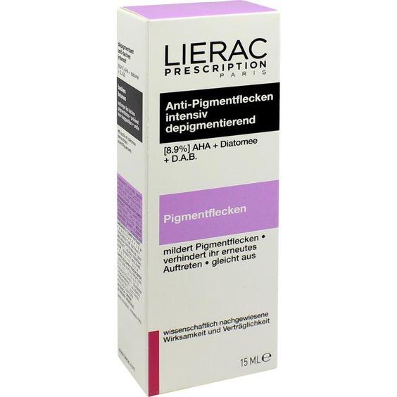 LIERAC Prescription Anti-Pigmentflecken:   Packungsinhalt: 15 ml Konzentrat PZN: 02455779 Hersteller: Ales Groupe Cosmetic Deutschland…