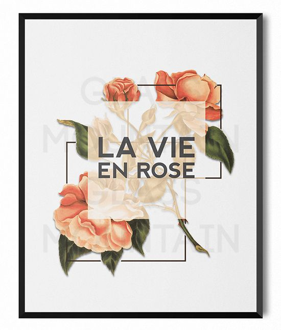 La Vie En Rose Floral Flower Typography Printable by TheGlassMountain on Etsy