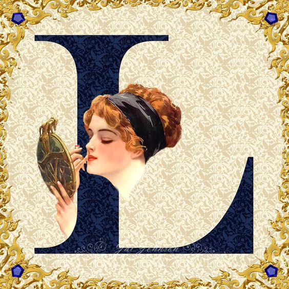 Victorian Lady Letter L Monogram