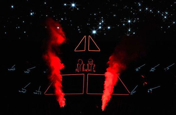 """Daft Punk at the 50th GRAMMY Awards in 2008 performing """"Stronger"""" with Kanye West"""