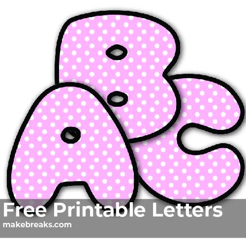 Pink Polkadot Free Printable Alphabet Printable Letters