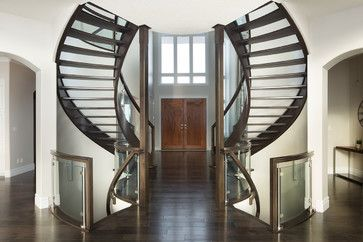 Curved Glass Maple Stair - modern - Staircase - Edmonton - Specialized Stair and Rail Ltd.
