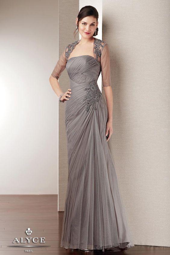 Elegant Soft Tulle Evening Gown with Long Sleeve Bolero Jacket ...