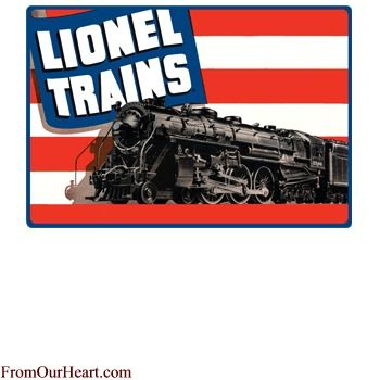 Lionel Engine Flag Tin Sign by Ande Rooney. Measures 15 x 10 1/2 $12.75