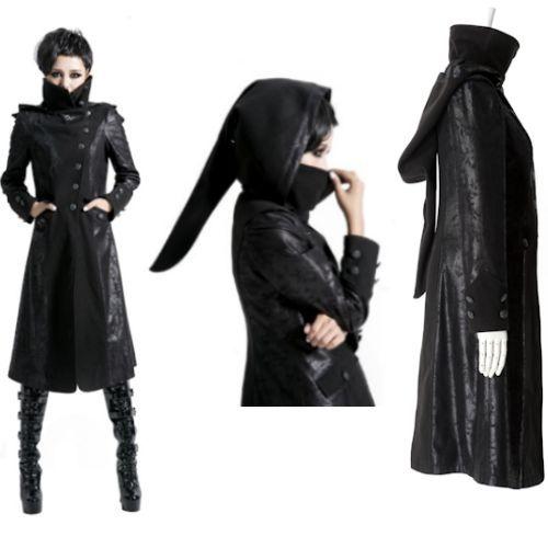 Women Black Gothic Vampire Hooded Long Jacket Trench Coat ...