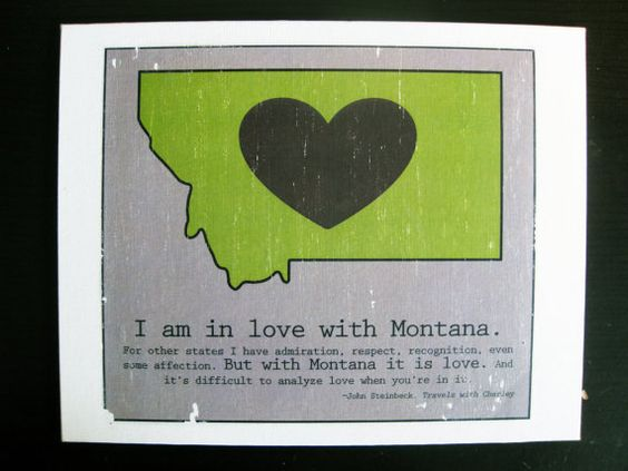 Montana LOVE State Map Canvas with John Steinbeck Travels with – Montana Travel Map