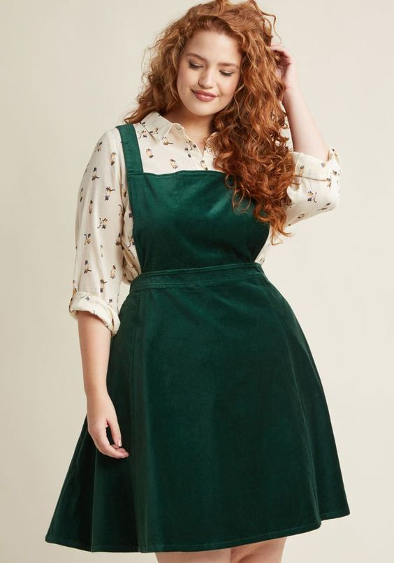1940s Style Dresses and Clothing Cupcake Consultant Velvet Jumper in Emerald $79.99 AT vintagedancer.com