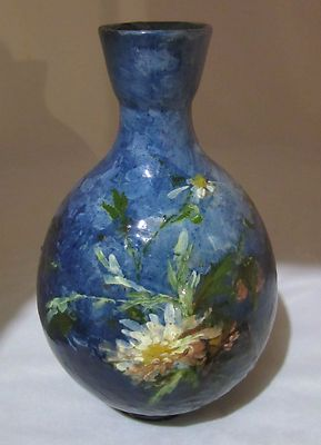 Brilliant Cobalt Haviland Limoges Terra Cotta Vase 11"