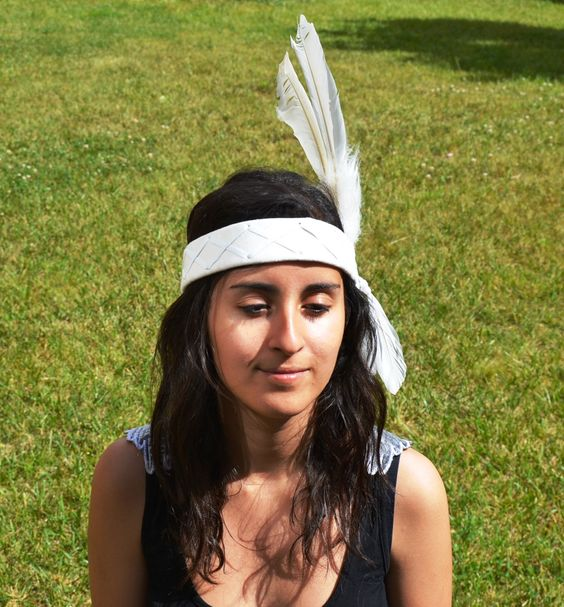 White leather headband with large White Feathers $25 via @shopseen www.theworldoffeathers.com