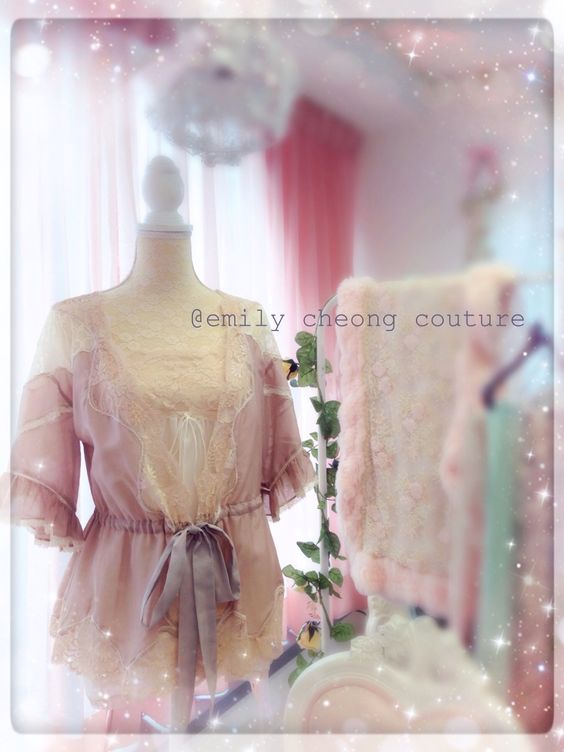 Dahlia Borelo - pink beige fashion designer lace frenchlace spring summer lace top  https://www.facebook.com/emilycheongcouture