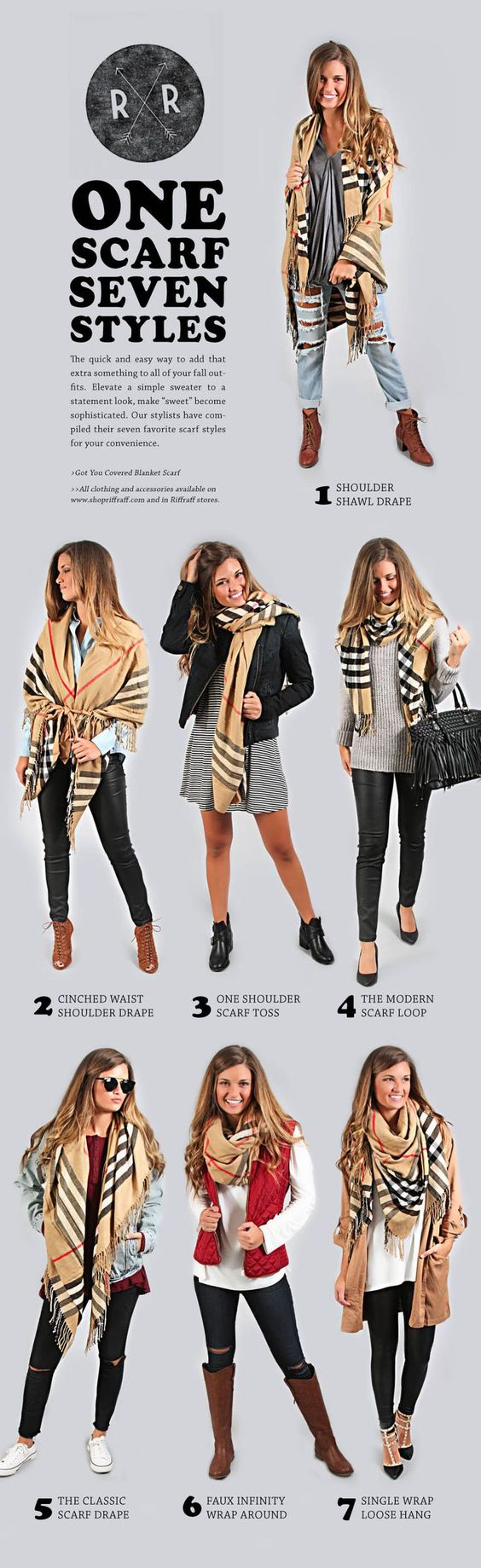 Lots of inspiration. Easy ways to style a large scarf: