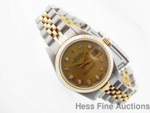 Genuine 18k Gold Ss Ladies Rolex Datejust Champagne Dial Added Diamonds 69173