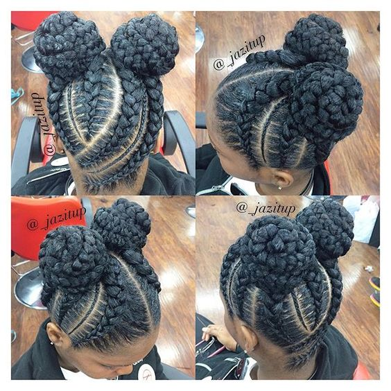 jumbo cornrows braided updo with space buns