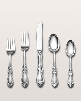 66-Piece Queen Elizabeth I Sterling Silver Flatware Service at Horchow.