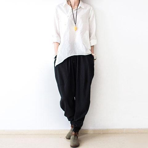 Black Oversized Linen Carrot Pants Plus Size Cotton Pants Loose Harem Pantsmost Of Our Dresses Are M Cotton Linen Pants Cotton Linen Trousers Loose Linen Pants