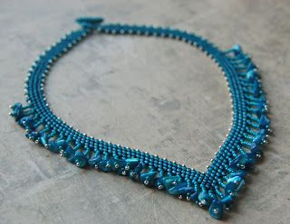 Totally Twisted Bangles & Beads: Azure - Fringed Peyote Necklace