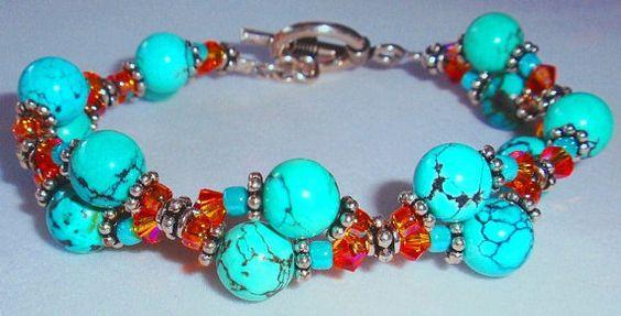 Double Trouble Turquoise Beaded Bracelet by SomethingSilverCM, $65.00